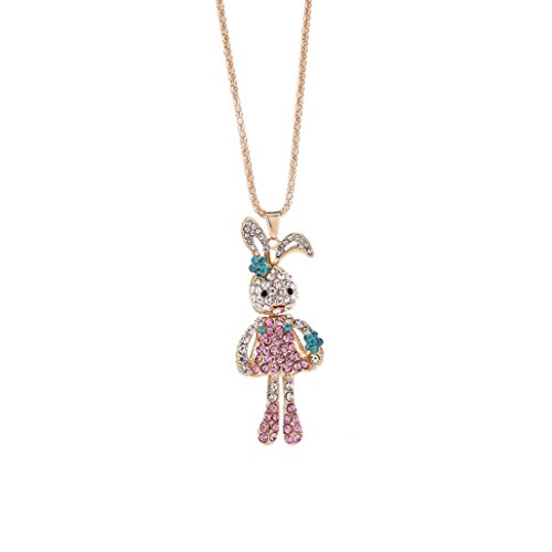 - LLguz Fashion Elegant Alloy With Rhinestone Crystal Little Rabbit Cute Pendant Sweater Necklace (Pink)