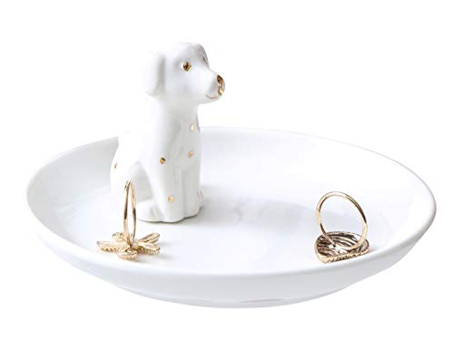 Adorable White Dog Ring Holder Spotted Dog Ceramic Jewelry Tray Dalmatians Porcelain Trinket Dish for Wedding Engagement Perfect for Holding Small Jewelries, Necklaces, Earrings, Bracelets, White