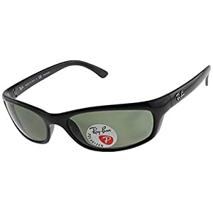 Ray-Ban RB4115 Rectangular Sunglasses, Black/Polarized Green, 57 mm