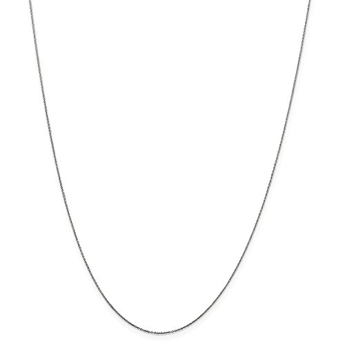 10k Gold Diamond-Cut Cable Chain Necklace with Spring Ring (0.4mm) - White-Gold, 24 -