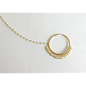 c20c9f7bdbf Amazon.com: Wedding Gold Plain Pearl Nose Ring Chain Hoop/Indian ...