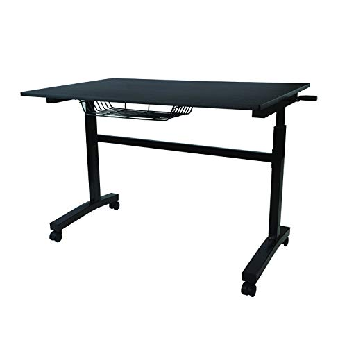 Atlantic Crank Adjustable Height Desk - Sit or Stand at This Large Workspace, Heavy Gauge Steel Frame (Black, with Casters) (Adjustable Height Table Crank)
