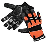Radnor 2X Black and Hi-Viz Orange Leather and Spandex Full Finger Mechanics Gloves with Hook and Loop Cuff (9 Pairs)