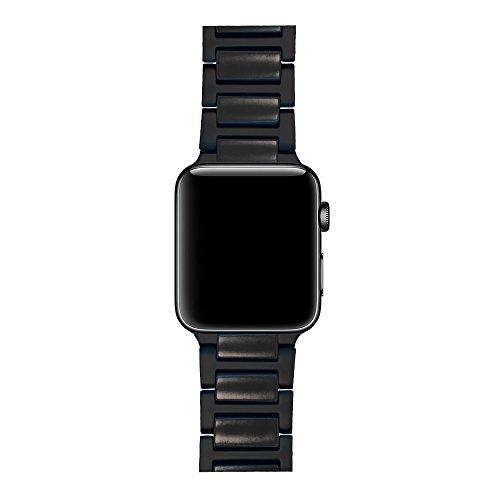 LDFAS Apple Watch Series 3 Band, 42mm Black Ceramics Black Stainless Steel Metal Link Bracelet Strap for Apple Watch Series ()