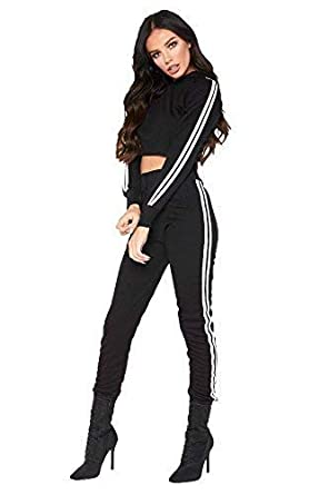 SAPPHIRE BOUTIQUE ® Ladies Long Sleeve Crop Side Stripe Loungewear  Tracksuit Joggers Set CoOrd  Black e429786bd