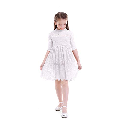 OBEEII Beautiful Little Girl Lace Flower Dress Princess Junior Bridesmaid Wedding Pageant Party First Communion Short Evening Gown White 3-4 Years