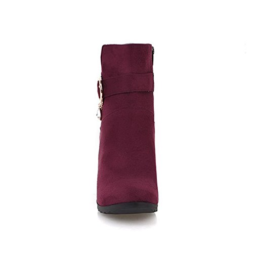 Suede Toe Round Closed Zipper Boots Heels Imitated Top High AmoonyFashion Claret Women's Low xqI1nCww8