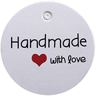 Lumanuby 'Handmade' Etikett Set von 100x 'with Love' Kraftpapier Geschenk Tag mit Rot Herz Deko für Geschenk DIY Preisetiketten für Backwaren Verpackung Deko, DIY Etiketten Serie, 3.5x3.5cm