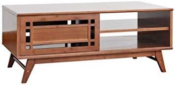 Bulk Ontwerpen Jixi Salontafel, moderne klassieke thick bamboe, salontafel, met grote capaciteit, met lade, theetafel, woonkamertafel  B13Z7R7