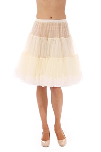 Malco Modes Chiffon Petticoat with Lace Skirt Extender Child Tween (Age 7-11) Size in Knee and Tea Lengths (580) (X-Small, Ivory 580)