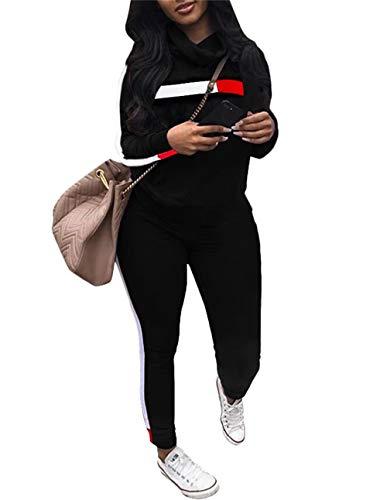 Women's 2 Piece Outfits Stripe Pullover Hoodies Sweatshirts Sweatpants Tracksuit Jogger Suit Set Plus Size