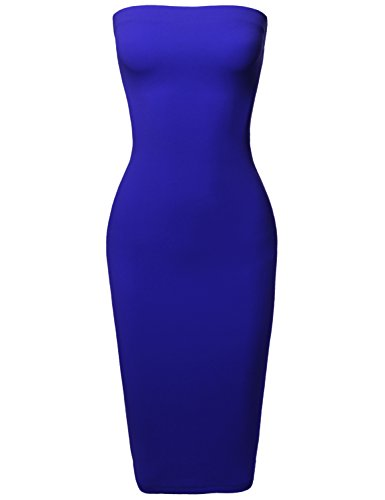 Sexy Scuba Crepe Tube Top Body-Con Tight Fit Midi Dress Royal S ()