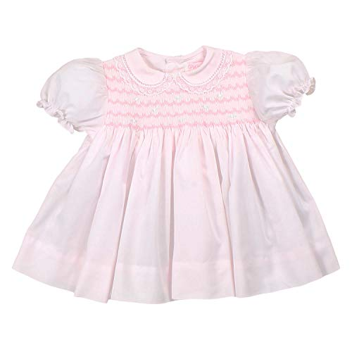 Petit Ami Baby Girls' Fully Smocked Dress with Lace Trim, Newborn, Pink ()