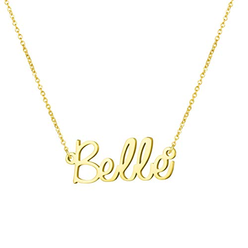 Awegift Personalized Name Necklace 18K Gold Plated New Mom Bridesmaid Gift Jewelry for Belle