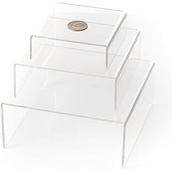 HUJI Clear Medium Low Profile Set of 3 Acrylic Risers Display Stands (1 SET, Clear Acrylic Risers)
