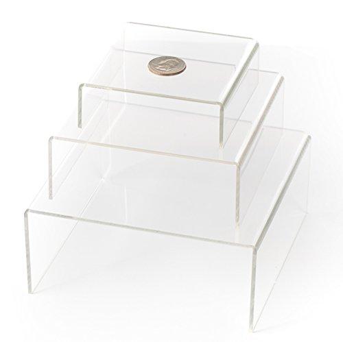 HUJI Clear Medium Low Profile Set of 3 Acrylic Risers Display Stands (1 SET, Clear Acrylic Risers) (Riser Display)