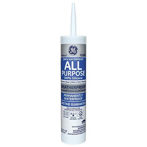 GE GE012A Silicone 1 All Purpose Sealant Caulk, 10.1oz, Clear – 12 Pack