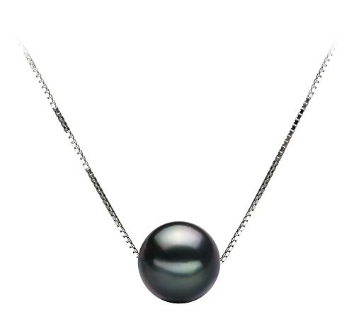 (Kristine Black 8-9mm AA Quality Tahitian 14K White Gold Cultured Pearl Pendant For Women)