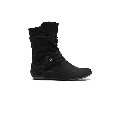 2d0e36c83118 HerStyle Staaton Women s Fashion Calf Flat Heel Side Zipper