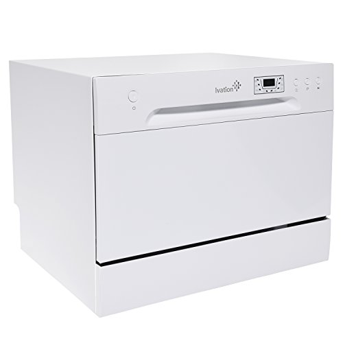 Ivation Portable Dishwasher - Countertop Small Compact Dishwasher for Apartment, Condo, RV, Office & Other Small Kitchens - 6 Place Setting Capacity - White