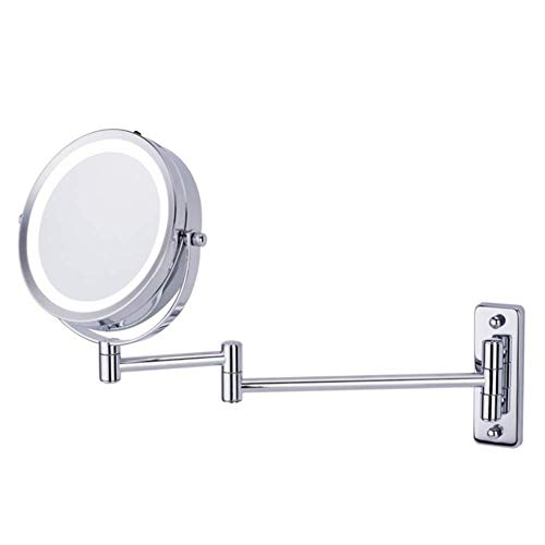 Mirrors Wall Mounted Makeup LED Light,Double Side Extending Folding Round Beauty Shaving 5X Magnification (Not Include Battery) -