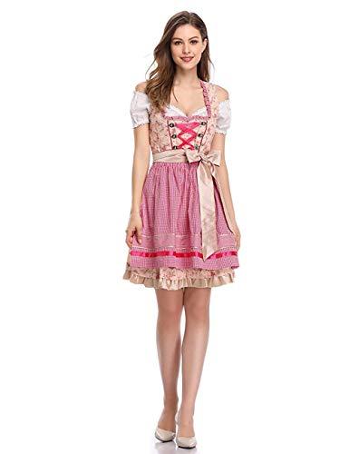 Women's German Dirndl Dress Costumes for Bavarian Oktoberfest Carnival Halloween (42) Pink]()