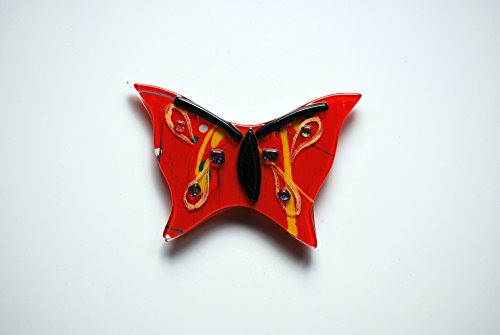 Butterfly Design Handmade Fused Glass Multi-color Magnet Decor Gifts (Butterfly Fused Glass)