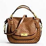 Kristin Woven Leather Round Satchel/ Shoulder Bag (Saddle) #23048