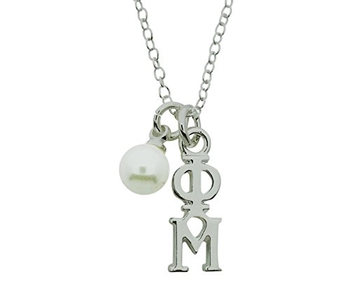 Phi Mu with Simulated Pearl Greek Sorority Lavalier Pendant with Chain 16 Inches Silver (Phi Mu Jewelry)