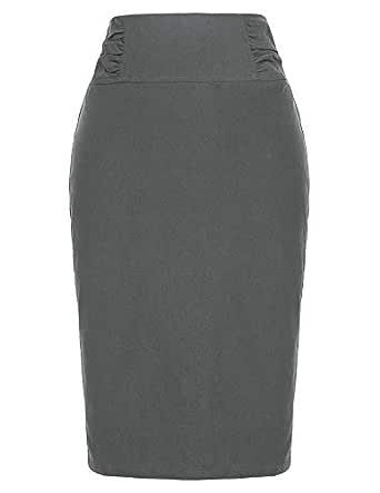 Kate Kasin Slim Fit Business Pencil Skirt Wear to Work Grey,S