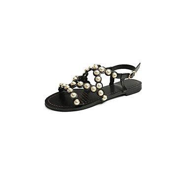 Gladiator Luce sandali estivi Suole PU all'aperto casual tacco grosso imitazione perla Walking femminile YCMDM , black , us7.5 / eu38 / uk5.5 / cn38