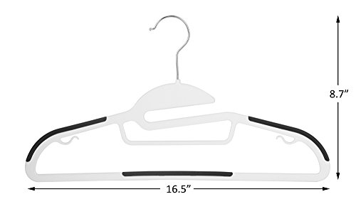 Finnhomy Heavy Duty 50 Pack Plastic Hangers, Durable Clothes Hangers with Non-slip Pads, Space Saving Easy Slide Organizer for Bedroom Closet, Great for Shirts, Pants,white