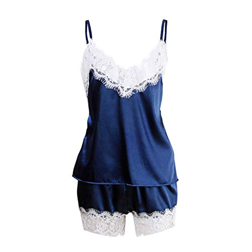 Updated,Women Sleepwear Pajama Cami Top + Shorts Pajamas Spaghetti Strap Lace Sexy Pajama Set,A White Navy Blue,XXL