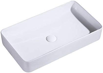 WJ 洗面台 (タップなし)バスルームの洗面台、矩形のセラミックカウンター流域洗面化粧台、単一流域、61X35X11cm /-/ (Color : White)