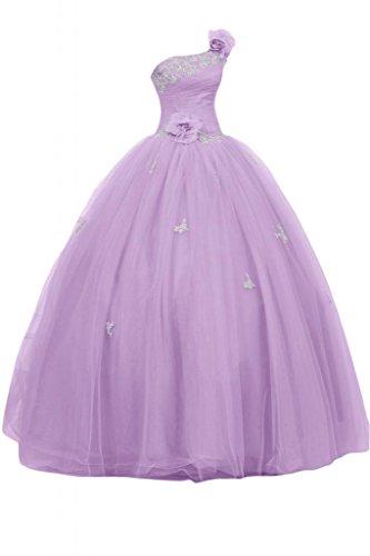 Sunvary Royal Una spalla raso Quinceanera Prom Tulle porta abiti per abiti da sera Gowns viola 42
