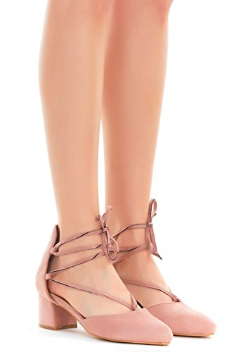 Emma Shoes Womens Pumps Heeled Lace-up, Ankle Tie Sandals (9, Blush)