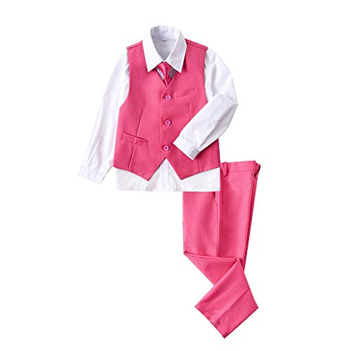 (YuanLu 4 Piece Suits for Boys Set with Vest Pants White Dress Shirt and Tie Pink Size 6)