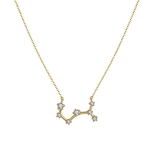Citled Women's Zodiac Necklace, 14K Gold Plated Astrology Constellation Horoscope Zodiac Necklace Delicate Rhinestone Sign Elegant CZ Necklace for Women (Scorpio (Oct 24-Nov 22))