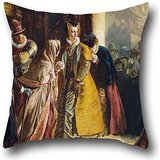 Oil Painting James Drummond - The Return Of Mary Queen Of Scots To Edinburgh Cushion Cases 16 X 16 Inch / 40 By 40 Cm For Dance Room,couch,kids Girls,dance Room,couples With Twin Sides (Mini Houndstooth Rug)