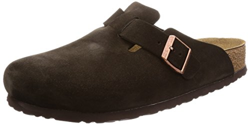 Soft Womens Clogs - Birkenstock Boston Soft Footbed (Unisex), Mocha Suede, 42 N EU