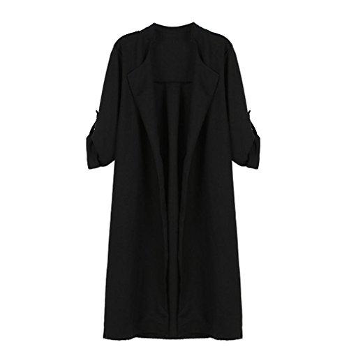 Manteau Femmes, Toamen Vestes longues manteaux manches longues ManteauTrench avant ouvert top cardigan (4XL, Gris) Noir