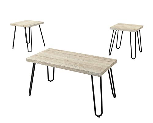 Abington Lane Set of 3 Coffee Table and End Table - Sleek and Decorative Piece Perfect for Placing a Desk Lamp Great for Living Room Office Family Room Bedroom Sturdy Build Home Decor (Natural Oak)