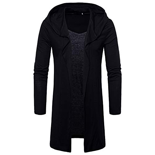 ZYEE Clearance Fashion Mens Hooded Solid Trench Coat Jacket Cardigan Long Sleeve Outwear Blouse ()