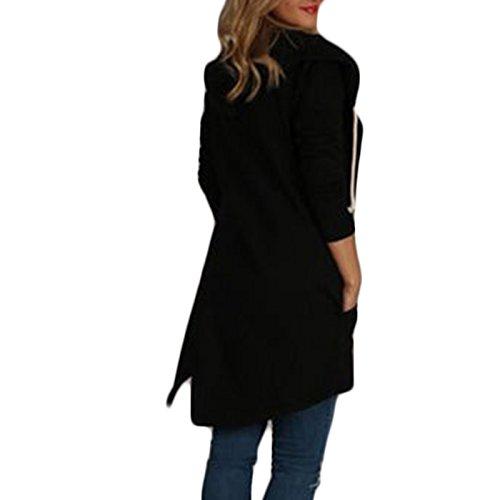 Casual Outcoat Encapuchado Irregular larga Coat Cazadora Manga Sudaderas Camisa Suelto Mujer Color Rebecas Hoodies Moda Negro Abrigo Sólido q6xtwE