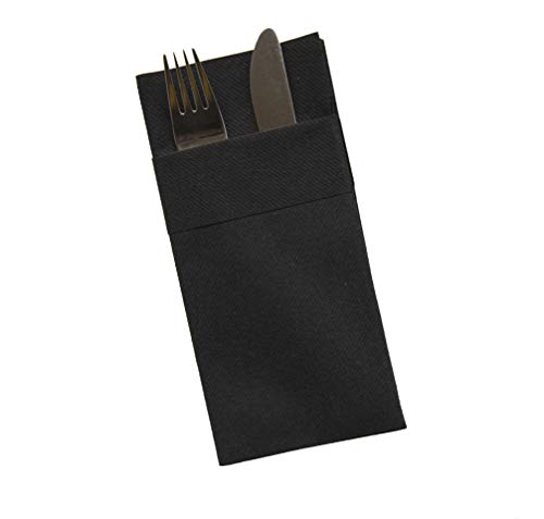 Superior Quality Kangaroo Hand Towels | Perfect Size 16x16 inches Pack of 50,Linen-Feel,Disposable Like Soft & Perfect Black Napkins with Built-in Flatware Pocket for Kitchen,Dinner,Weddings or Events