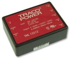 TRACOPOWER TML 15512 AC-DC CONV, PCB MOUNT, 3 O/P, 15W, 5V, 12V, -12V