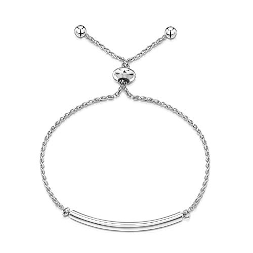 (Amberta 925 Sterling Silver - Rhodium Plated - 1.2 mm Wheat Chain Bracelet with Arc Charm - Adjustable up to 9