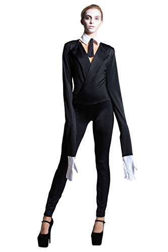 Yandy Extra Long Sleeves Halloween Creepy Slim Mime Cosplay Costume M/L Black]()