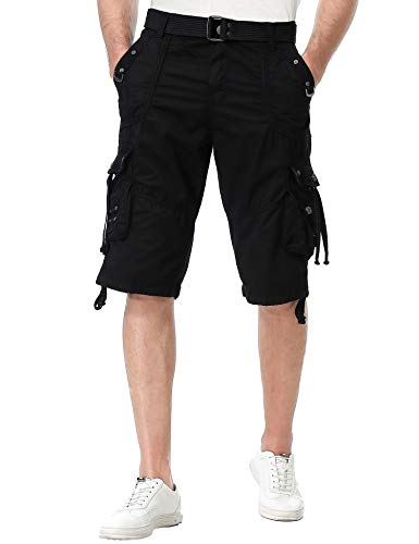 (TWO BLOCKS OFF Mens Multi-Pocket Camo Cargo Shorts Casual Loose Fit Belted Ripstop Basic Cargo Short (Black, 40))