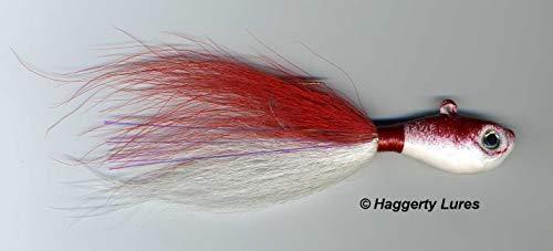 Haggerty Lures Bucktail Jig - Ultra Minnow Fish Head - Striper, Fluke, Flounder - 2oz to 8oz (Red/White, 3oz)